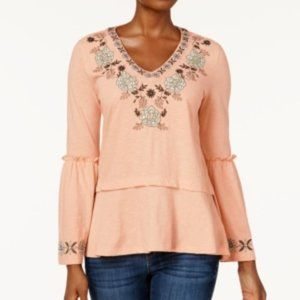 Style & Co.. Embroidered Peplum Top  NWT